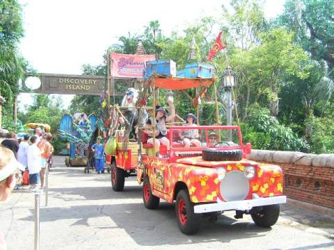 Lively, colorful parade at Disney's Animal Kingdom Theme Park.
